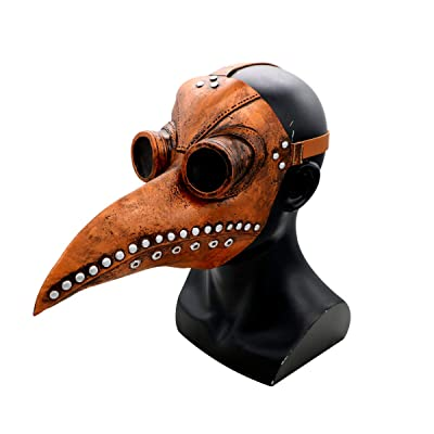 Alician Plague Doctor Bird Face Cover Long Nose Beak Cosplay Retro Props for Halloween Costume Props Punk Brown Beak Office Product: Office Products