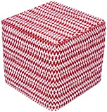 Design Accents Fair Isle Hand Woven Pouf, 18-Inch by 18-Inch by 18-Inch, Red/Ivory