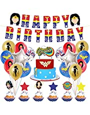 Happy Birthday Banner Super Hero Theme Birthday Party Decorations Paper Banner Cake Topper Latex Balloon Super Woman Birthday Party Supplies For Girls (Color : Super Woman Party)