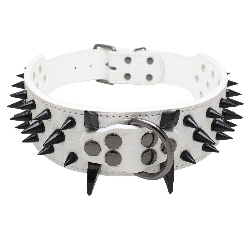 White S White S Rdc Pet Black Spiked Studded Dog Collar, Padded PU Leather Collars Medium Large Dogs 2 inch Width (S, White)