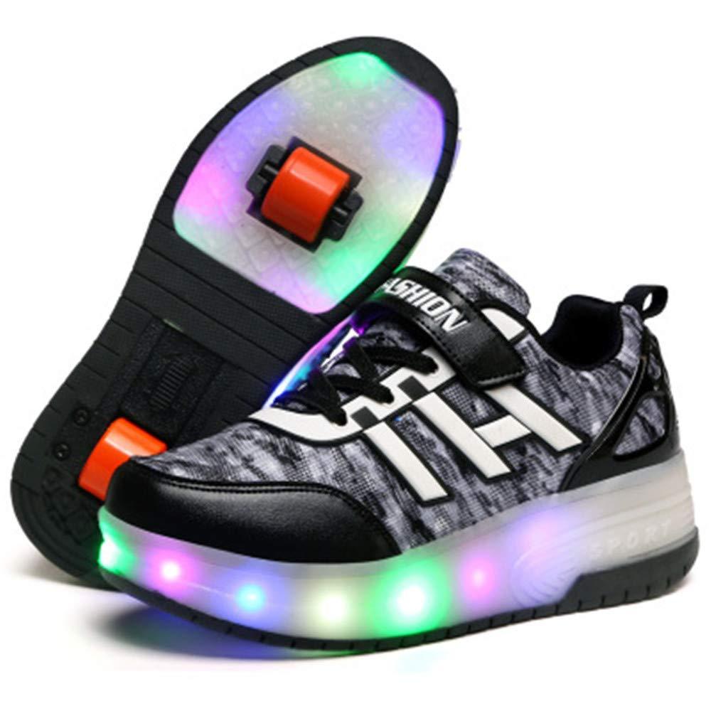 laideqi Kids Boys Led Light Roller Skates Shoes Flashing Single Double Wheels Sneaker(Black 2 Wheels 36 M EU/4 M US Big Kid)