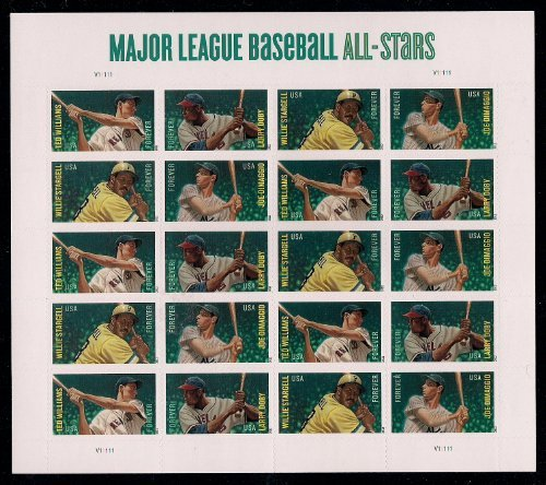 "2012 (Limited Edition) 20 ""Major League Baseball All-star"" Forever U.S. Postal Stamps (Willie Stargell, Larry Doby, Ted Williams & Joe Dimaggio) Stamp MLB by USPS"