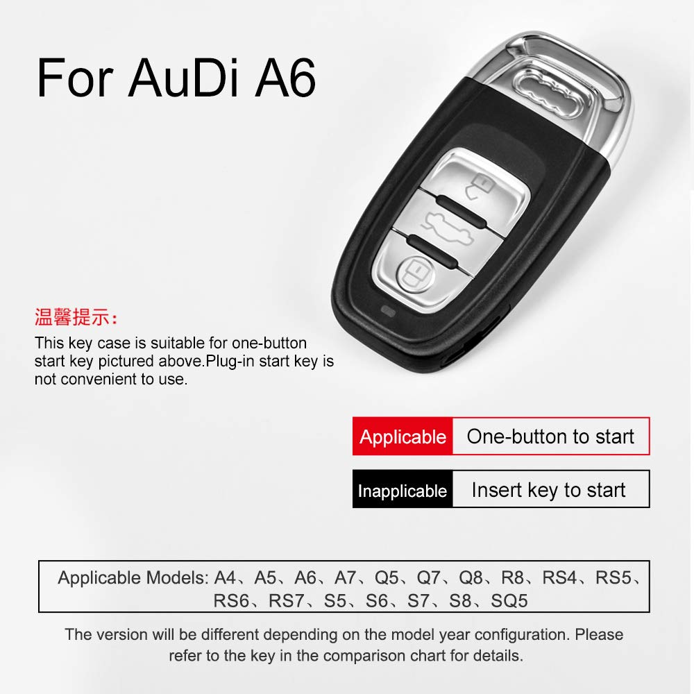Black OATSBASF Fit to Audi Key Cover Key Keyless Cover for Audi A4 A5 A6 A7 Q5 Q7 Q8 RS SQ 3-Buttons TPU Silicone Audi Key fob Cover Case