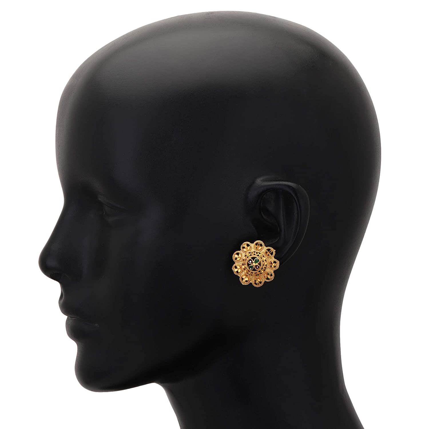 Jwellmart Gold Polish Self Design Stud Indian Earrings Jewelry for Women and Girls