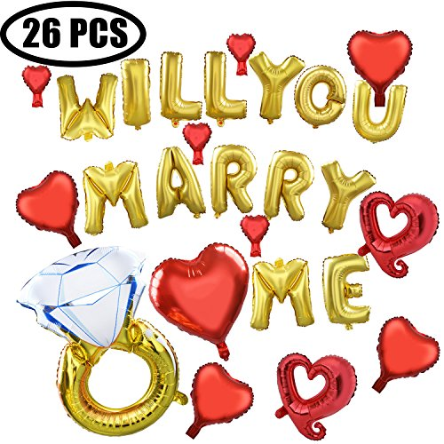 Coxeer Wedding Balloons, 26 PCS Foil Will You Marry Me Diamond Ring Balloon for Wedding Proposal -
