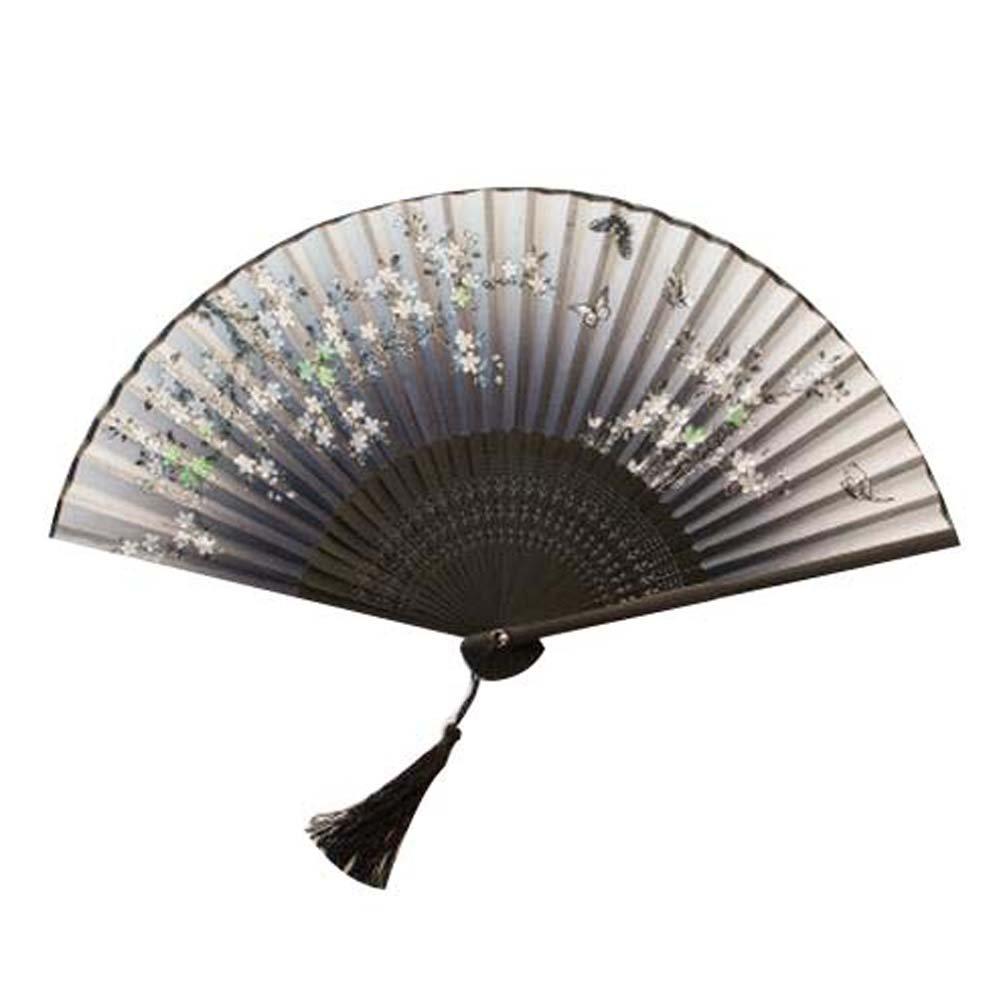 Women's Folding Fan Hand Fan Retro Style Beautiful Handheld Folding Fan Black