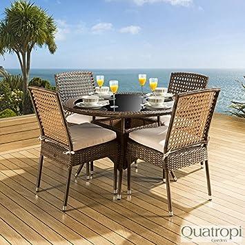 04aed12c Ratán jardín juego de comedor mesa redonda 4 sillas marrón crema de cojín  nuevo: Amazon.es: Jardín