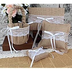 4Pcs/set Burlap Wedding Guest Book + Pen Set +Flower Girl Basket + Ring Pillow (Burlap)