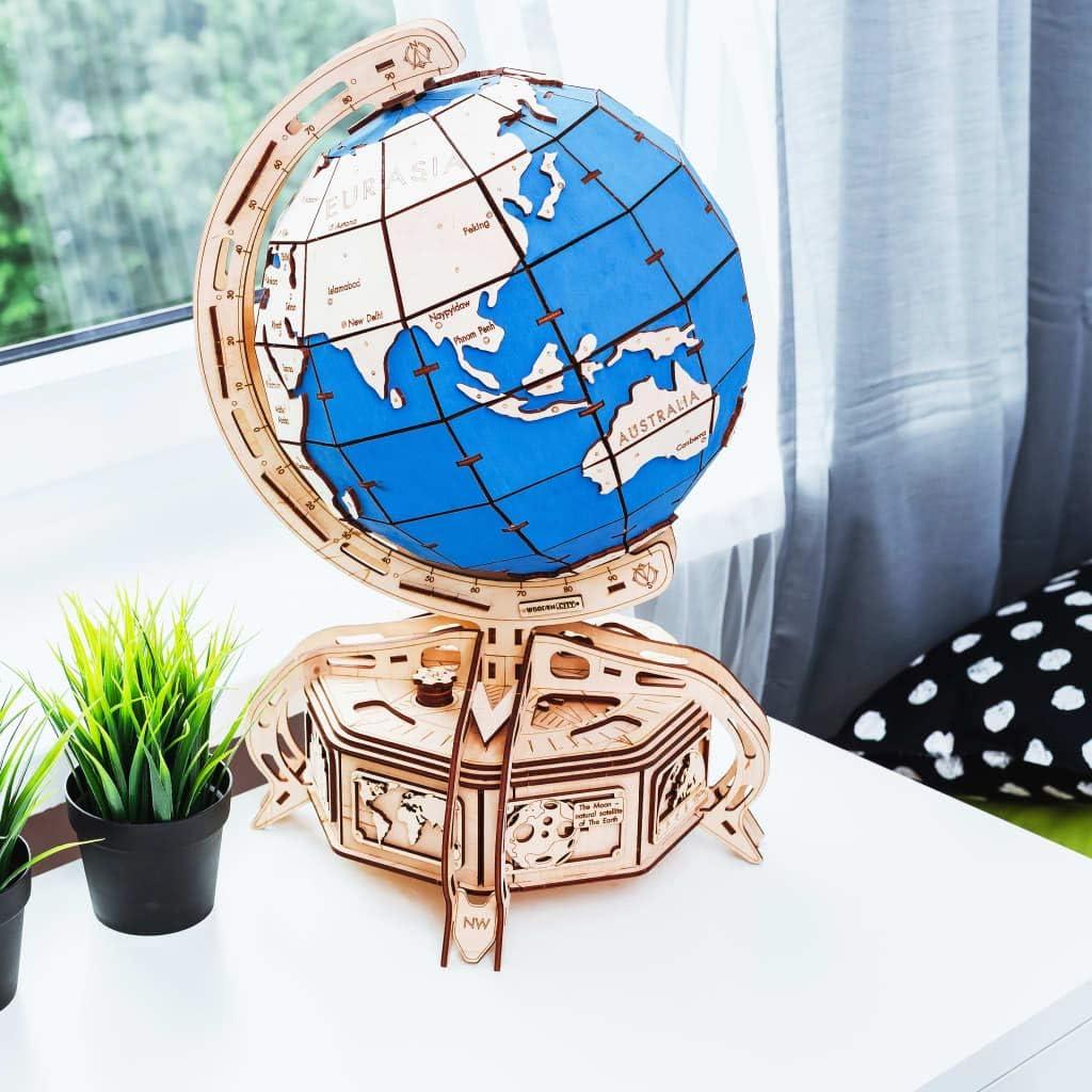 EWA Eco-Wood-Art Naturaleza mec/ánico 3D de Madera-Rompecabezas para Adultos y Adolescentes-Montaje sin pegamento-393 Piezas Color marr/ón Globe Brown