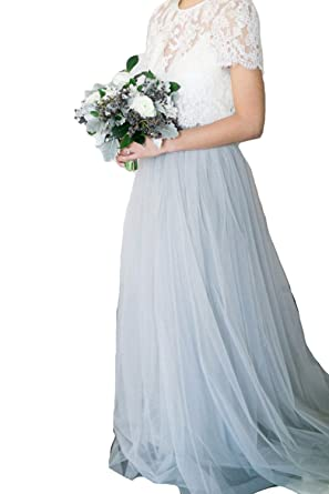 Xple Powder Blue Tulle Skirt Lace Top Two Pieces Wedding Dresses