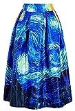 Alaroo Women's Van Gogh Impressionistic Painting Starry Night Flare Skirt