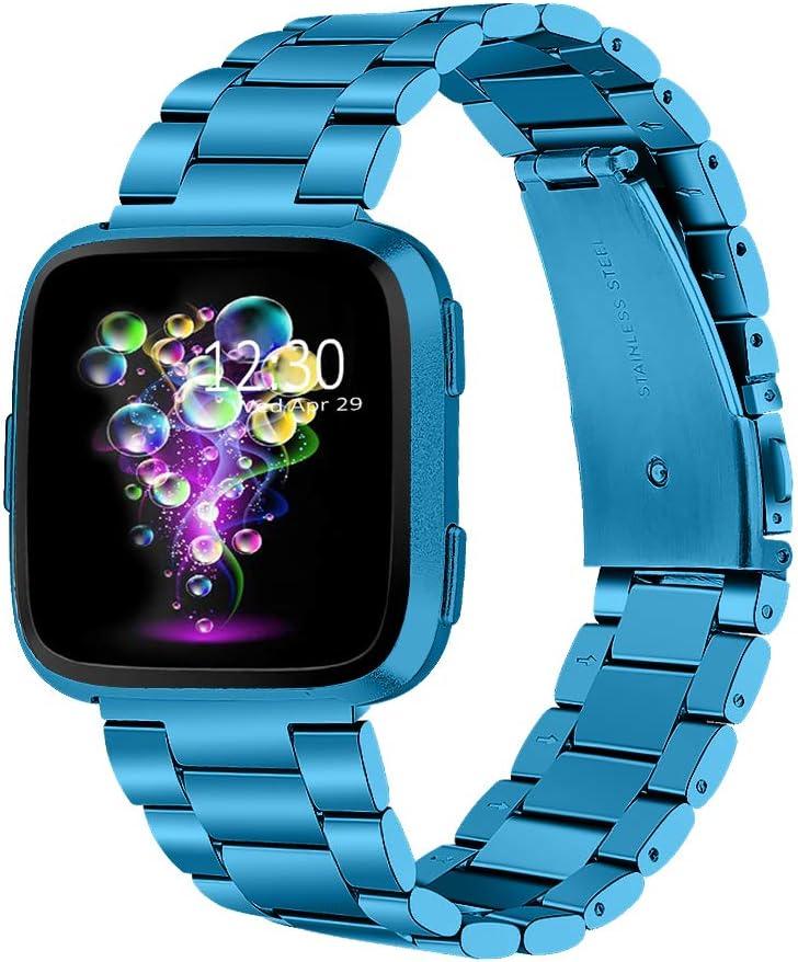 Joyozy Stainless Steel Bands Compatible with Fitbit Versa/Versa Special Edition/Fitbit Versa Lite/Fitbit Versa 2 Smart Watch,Classic Wristband Metal Bracelet Replacement for Women Men Marina Blue