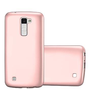 Cadorabo Funda para LG K10 2016 en Metallic Oro Rosa – Cubierta Proteccíon de Silicona TPU Delgada e Flexible con Antichoque – Gel Case Cover Carcasa ...