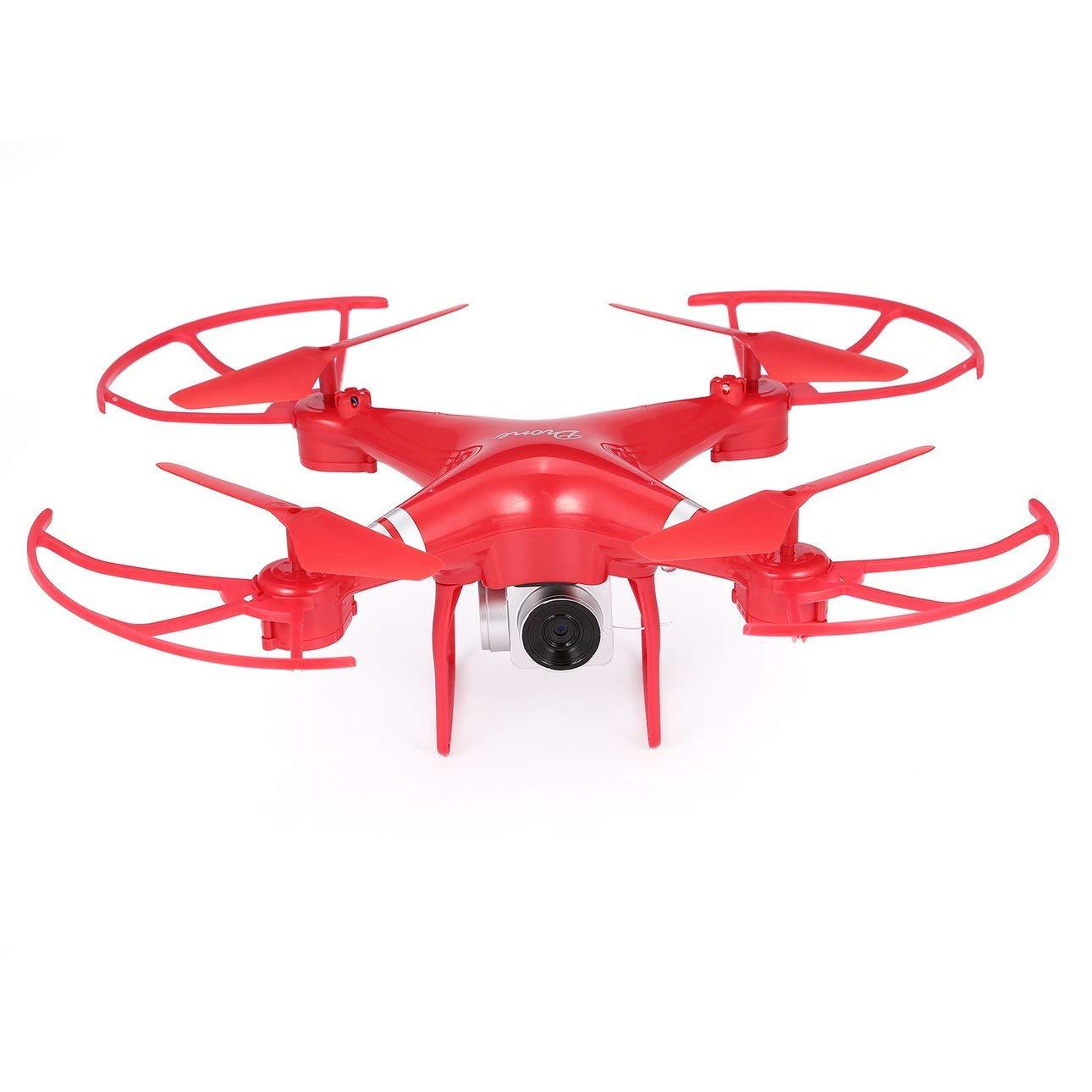 Ballylelly KY101 RC Drone Gran Angular 720P Cámara Altitude Hold Modo sin Cabeza Quadcopter (Rojo-con 1 Batería)