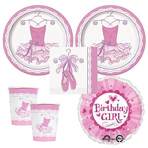 Ballerina Tutu Party supplies 16 guests dinner plates napkins cups plus bonus balloon  sc 1 st  Amazon.com & Ballerina Party supplies: Amazon.com