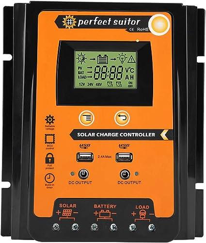 24V r/égulateur de batterie de panneau solaire Dual USB LCD affichage r/égulateur de courant de panneau 30A 50A 70A noir 50A Fydun MPPT contr/ôleur de charge solaire 12V Orange