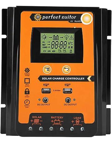 EBTOOLS MPPT Regulador de Carga Solar Panel Solar Regulador de Batería Dual USB Pantalla LCD,