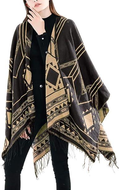 Womens Poncho Blanket Wrap Shawl Cape Jumper Coat Ethinic Plaids Cashmere Like