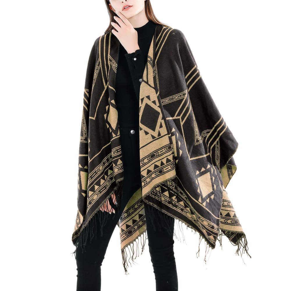 Hatoys Fashion Women Long Blanket Lattice Pattern Coat Wrap Cozy Shawl,Winter Warm Lattice Large Scarf(Gold)