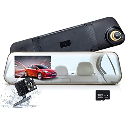 Mirror Dash Cam, WONYERED 1080P 4.3 Inch Car Camera Front and Rear Dash Cam with G-Sensor, Night Vision, Reversing Camera, Parking Monitor [8G TF Card ...
