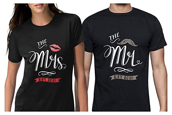 77659e94ac Mr & Mrs Est 2018 Couples Gift Wedding, Anniversary, Newlywed Matching T- Shirts