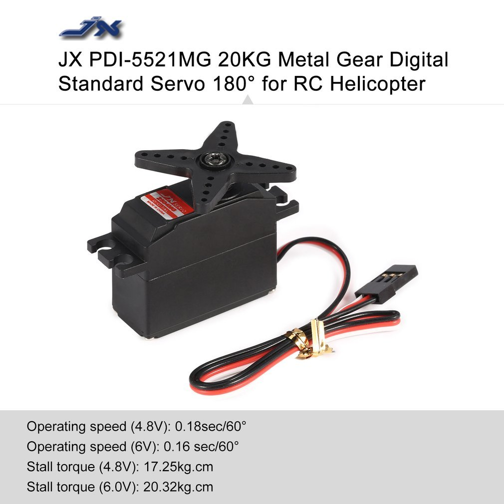 Dooret PDI-5521MG 4.8-6V 20KG Servo standard digitale per ingranaggi in metallo ad alta precisione 180 gradi per aereo RC