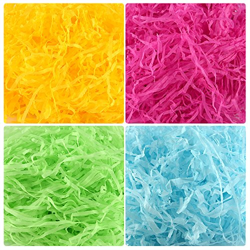 TUPARKA 80g Easter Paper Grass,Easter Basket Grass for Egg Stuffers,Shredded Tissue Craft for Easter Day Decoration Supplies (Green,Blue,Yellow,Pink) -