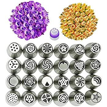 Russian Piping Tips 45 Set Stainless Steel Cake Decorating Icing Tips Kit Nozzles Pastry Decorating Tips Cupcake Decorator Icing Dispenser 24 Russian Tips
