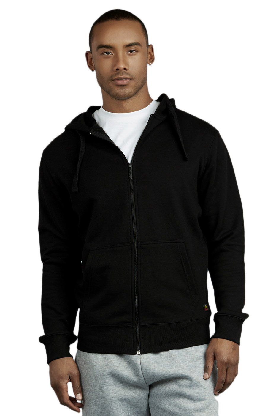 Knocker Men's Terry Fabric Cotton Zip Up Hoodie Jacket (L, Black)