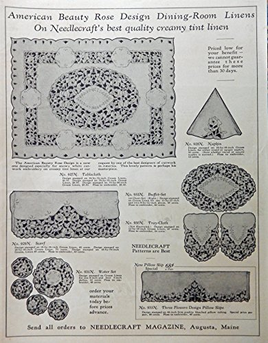 Ad. Full Page B&W Illustration (American Beauty Rose Design dining-room Linens, napkin, scarf,pillow slip,buffet-set)Original 1935 Vintage, Rare Woman's Day Magazine Art (Bw Pillow)