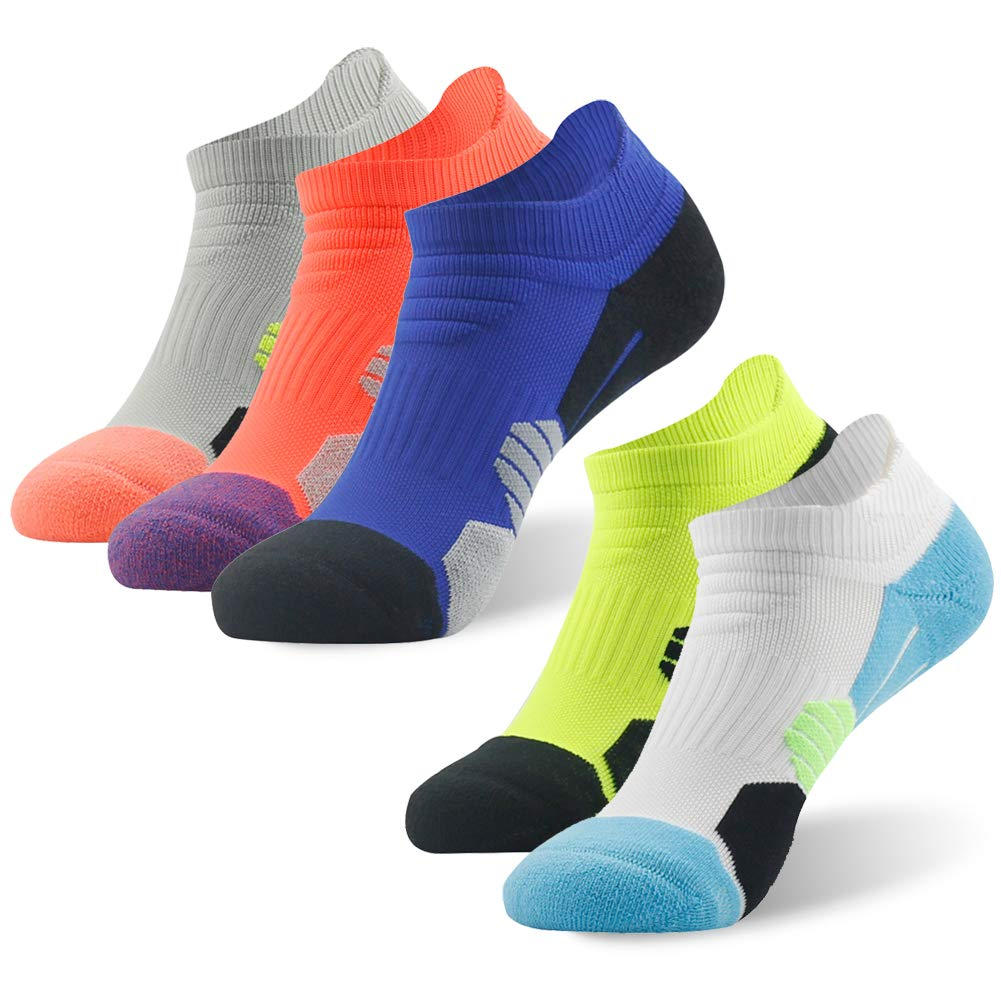 NIcool Men's Running Athlteic Socks, Thick Cushion Pad Blister Breathable Runner Sports Performance Low Cut Left Right Socks, 5 Paris, Multicolor by NIcool