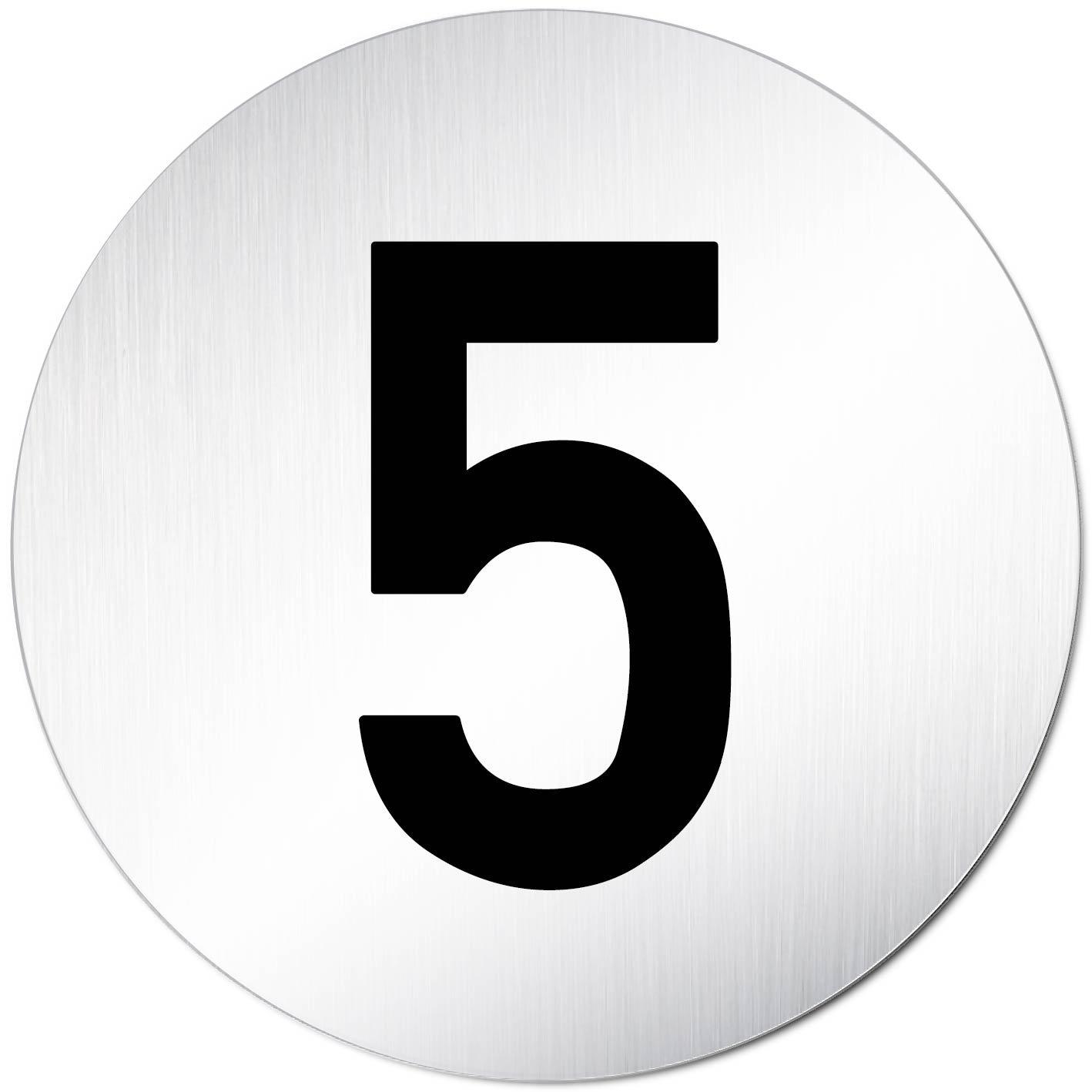 Zahlen Schild XXL T/ürschild /• 5 /• Ziffern T/ürnummer /• /Ø 100mm /• Aluminium /• T/ürschild Hinweisschild /• Schild eloxiert