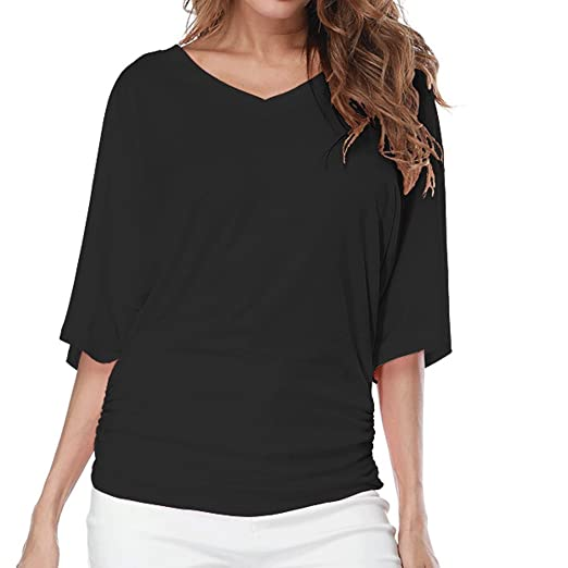 481fd6a280 LINGMIN Women Plus Size V Neck Loose Fitting T-Shirt Tops Solid Short  Sleeves Dolman