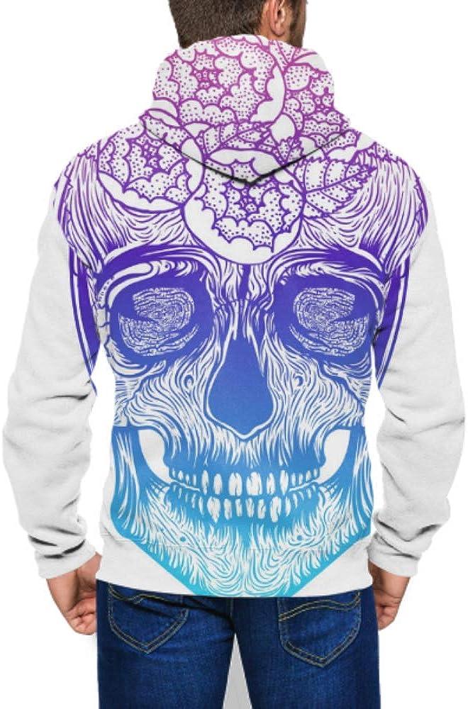 GUJGK Mens Hoodie Print Human Skull Tribal Jacket Sweatshirt Full-Zip S-3xl