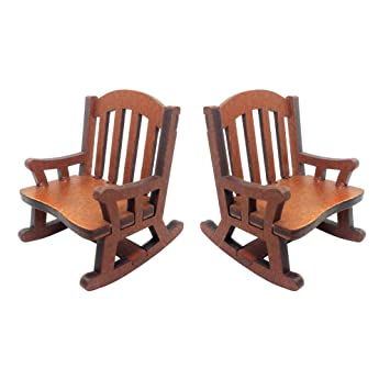Outstanding Amazon Com 2Pcs Vintage Wooden Rocking Chair Model For 1 12 Ncnpc Chair Design For Home Ncnpcorg