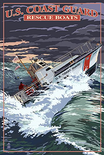U.S. Coast Guard - 44 Foot Motor Life Boat (16x24 SIGNED Print Master Giclee Print w/ Certificate of Authenticity - Wall Decor Travel Poster)