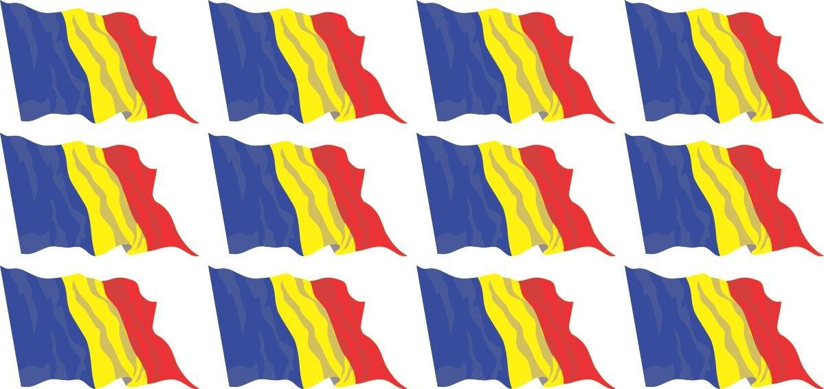 4x 51x31mm+ 12x 33x20mm la maison et l/école bandiera sventolante Rum/änien Set of 26 Standard pour la voiture 10x 20x12mm- adesivi le bureau Mini bandiere//bandiere insieme