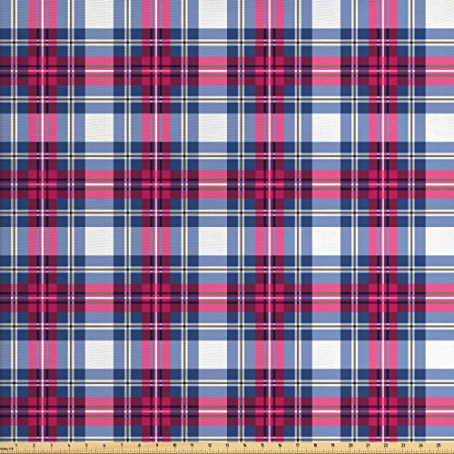 Ambesonne Abstract Fabric by the Yard, Vibrant Tartan Plaid Pattern with Geometric Contrasts Picnic Style Design, Decorative Fabric for Upholstery and Home Accents, Dark Blue Hot Pink (Decor Fabric Plaid Home)