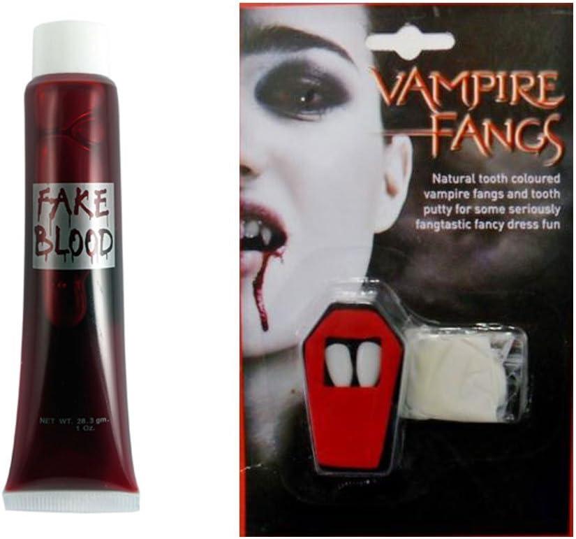 HALLOWEEN VAMPIRE DRACULA FANGS AND FAKE BLOOD FANCY DRESS TEETH /& PUTTY