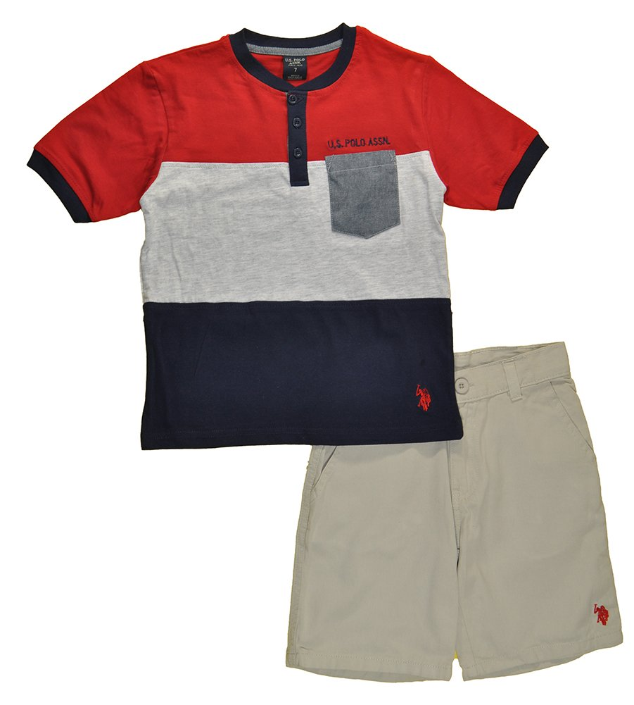 US Polo Assn Little Boys Navy Blue & Red Top 2pc Short Set (5)