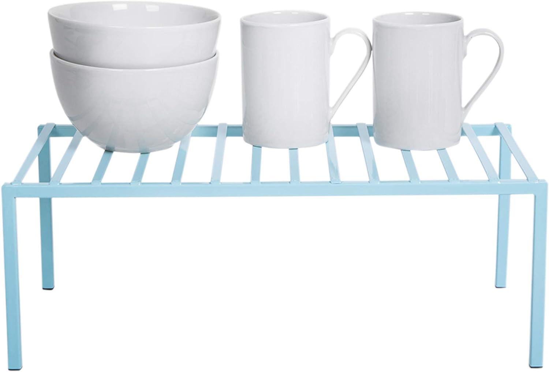 Smart Design Premium Cabinet Storage Shelf - Large (16 x 8.5 Inch) - Steel Metal Frame - Rust Resistant Coating - Cup, Dish, Counter & Pantry Organization - Kitchen [Light Blue]