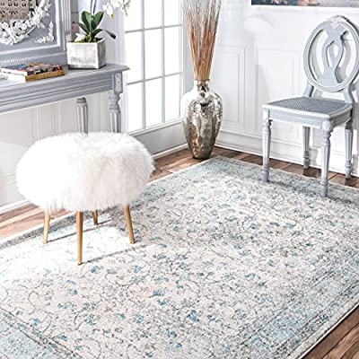 """nuLOOM Vintage Rio Area Rug, 8' 10"""" x 12', Aqua Blue - Style: Contemporary, Transitional, Traditional Color : Aqua Actual Size: 9' x 12' - living-room-soft-furnishings, living-room, area-rugs - 61owACR%2BuCL. SS400  -"""