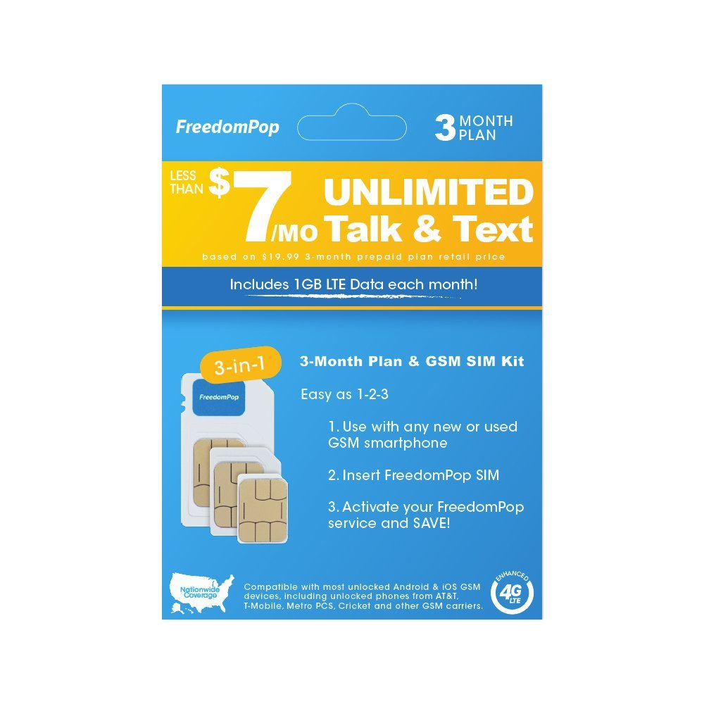 FreedomPop Less than $7/month, 3-Month Prepaid Plan - 3-in-1 LTE SIM Kit  - Unlimited Talk, Text, & 1GB Data by FreedomPop