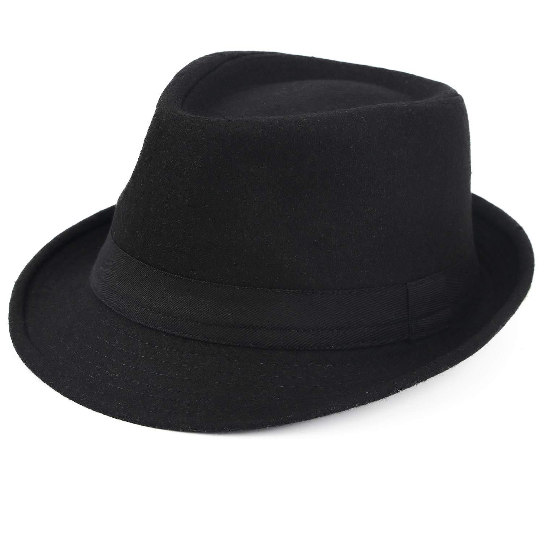 Melesh Unisex Classic Trilby Fedora Hat (Black) by Melesh (Image #1)