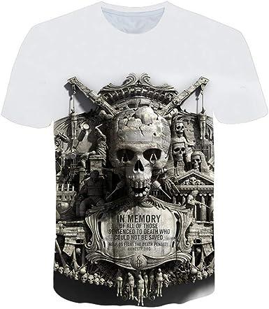 Camisetas Camiseta De Cráneo Verde para Hombre Camiseta Negra Divertida Punk Rock Estampado 3D Hip Hop para Hombre Ropa De Verano Streetwear @ 2XL_White: Amazon.es: Ropa y accesorios