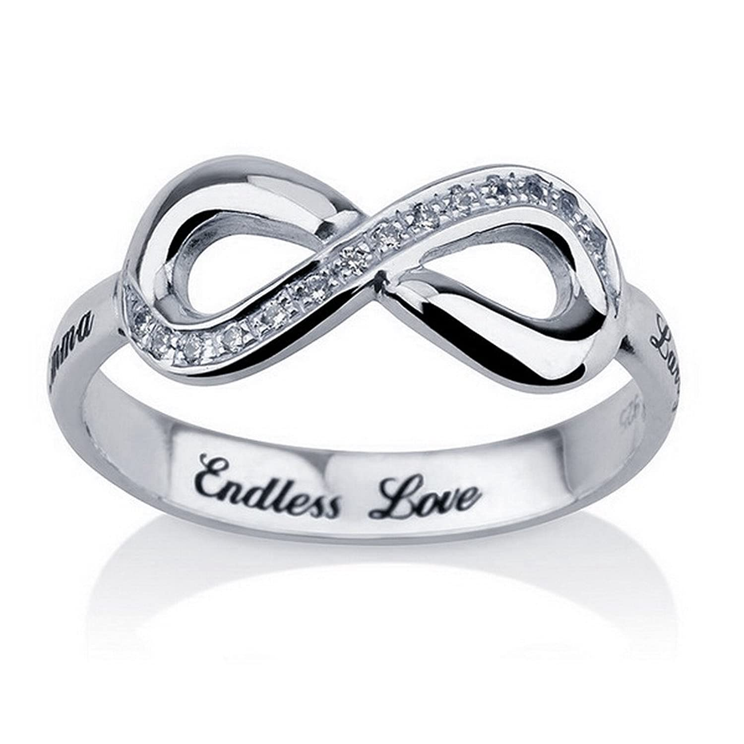 Amazon.com: Engraved Infinity Ring, 925 Sterling Silver Infinity ...