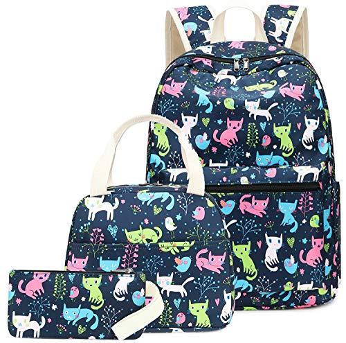 Backpack for School Girls Teens Bookbag Set Kids School Bag 15 inches Laptop Daypack (Cat-0021)
