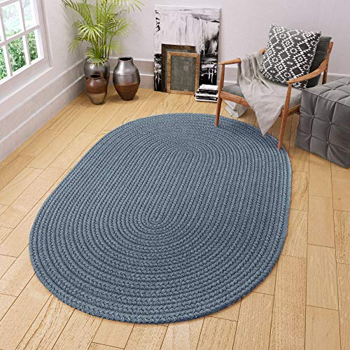 Super Area Rugs Maui Braided Rug Indoor Outdoor Rug Washable Reversible Blue Patio Porch Kitchen Carpet, 3' X 5' Oval (Blue Oval Braided Rug)