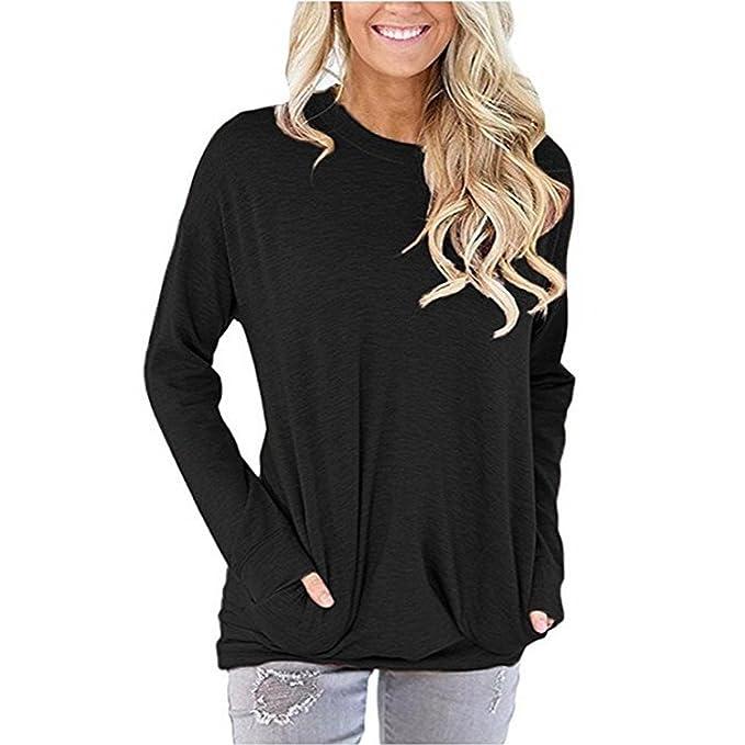 48b49aa30 PORALA Comfy Long Sleeve Tunic Tops Blouses For Women Batwing Sleeve Casual  Soft Sweatshirts T-