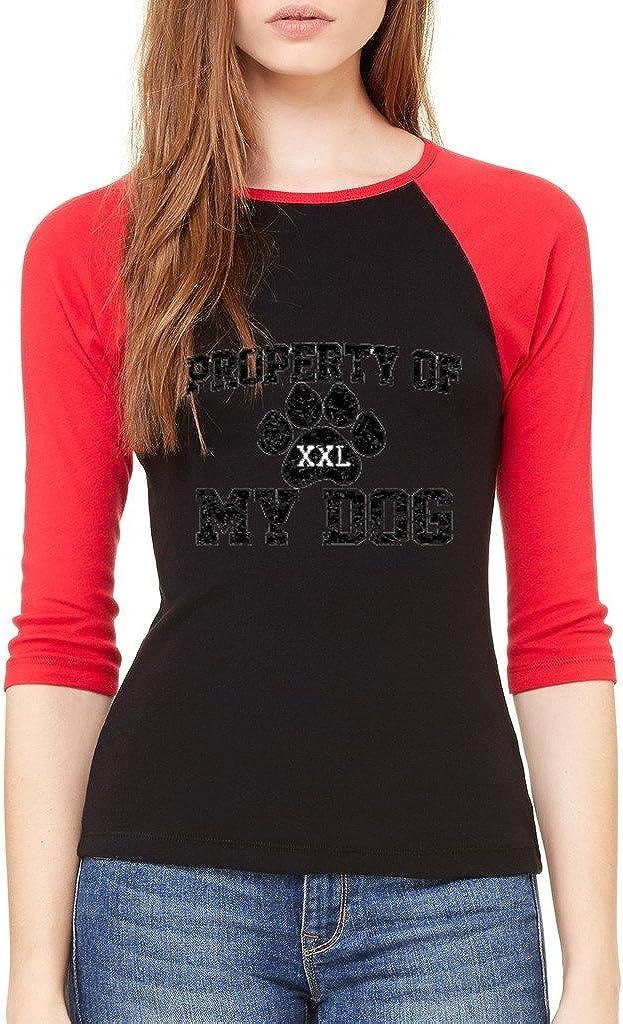 Property of My Dog 3//4 Sleeve Pet Lover Cat Dog Raglan Baseball Shirt aa 11